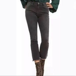 Free People Grey cropped fray hem jeans